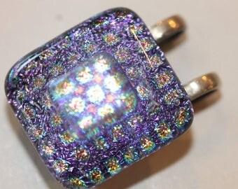 Sterling silver multi color square dichroic glass pendant