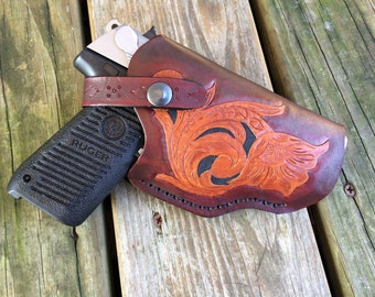 Handcrafted Leather Gun Holster - Floral Design