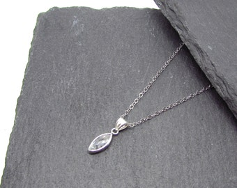 Faceted marquise colourless CZ pendant on chain, Sterling Silver