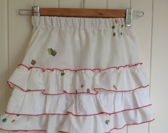 Size 2 Toddlers Summer Skirt in white with three frills edged in red