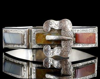 Antique Victorian Silver Scottish Bracelet Buckle Clasp