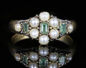 Antique Georgian Emerald Pearl Ring 18ct Gold Circa 1821