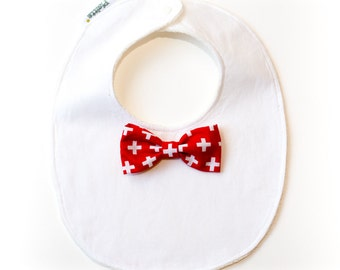 """Bib """"little man""""-red bow tie with spreaders"""