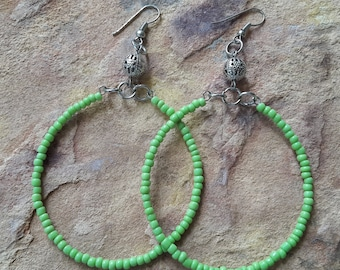 Beaded handmade simple  minimalist fashion modern trendy elegant  wedding bridesmaid prom spring summer dance big green silver hoop earrings