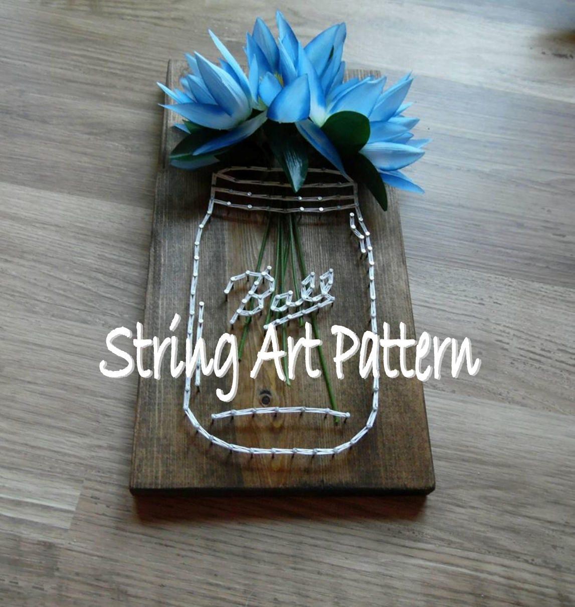 yarn art color garden : Ball Mason Jar String Art Pattern Mason Jar String Art Pattern Ball Jar Pattern String Art Mason Jar Pattern Diy Mason Jar String Art