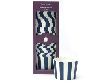 Baking Cups   Navy Stripe Baking Cups   Premium Quality Paper Baking Cups   Snack Cups   Candy Cups   Party Supplies   The Party Darling