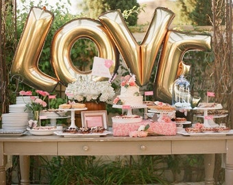 "Giant LOVE Balloons -  40"" Inch Gold Mylar Balloons in Letters L-O-V-E  - Metallic Gold, Rose Gold or Silver - Authentic Megaloons"