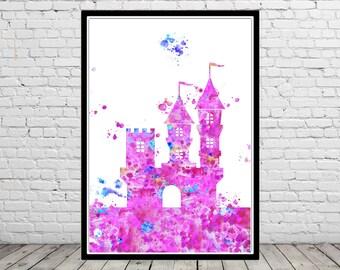 Castle, princess castle, fairytale, watercolor fairytale, watercolor print, fairytale nursery, baby girl nursery, watercolor castle  (2778b)