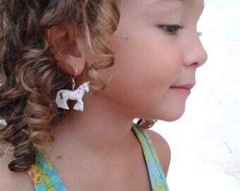 Minifigures Earrings: White Unicorn