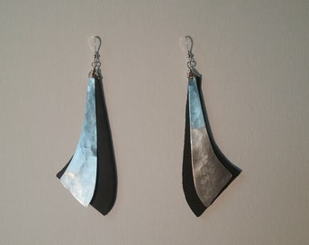 Leather and Aluminum Earrings