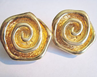 Sterling Gold Tone Clip Earrings