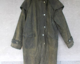 Waxed Riding Coat   with Hood  Olive Green Made in England