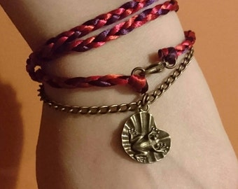Brass colour frog charm bracelet