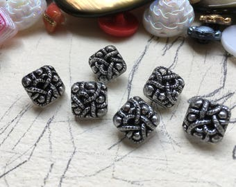 6 square glass buttons - old black silver collector / glass buttons -.