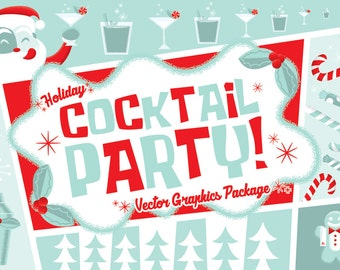Retro Holiday Cocktail Party Clip Art- Downloadable Vector Graphics Set- AI, PNG, EPS Formats