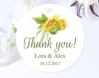 Sunflower Custom Wedding Tags, Round Sunflower Thank You Tags, Personalized Wedding Tags, Sunflower Wedding Favor Tags