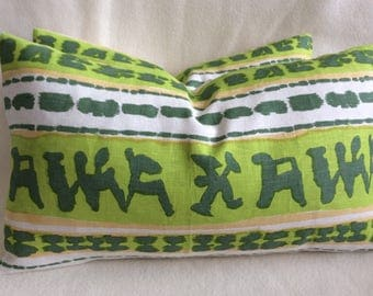 Unique Designer Lumbar Pillow Covers - 100% Linen Tribal Print - Green/ Gold - 2pc Set - 12x20 Covers