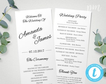 Printable Wedding Program Template, Instant Download, Edit in Our Web App, Ceremony Program, Tea Length Program