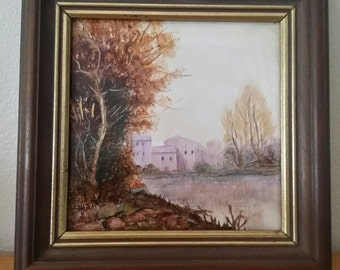 Hand painted Ceramic Tile Painting- Framed