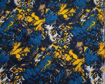 "Upholstery Fabric, Abstract Print, Dress Material, Sewing Supplies, Blue Fabric, 58"" Inch Cotton Fabric By The Yard ZBC7790A"