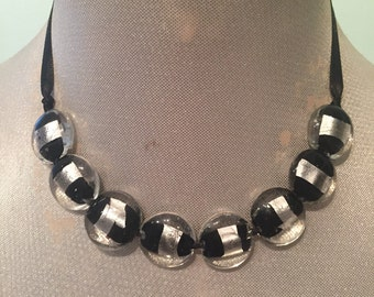 Black and Silver Glass Beaded Ribbon Necklace / Choker