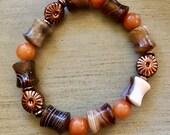 Beautful Earth Agate, Peach Aventurine, and Copper Bracelet