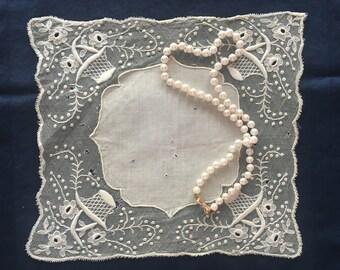 Antique FRENCH Handkerchief, FREE Shipping RARE Wedding Hanky Circa 1900-1909 Bridal Hankies Handkerchiefs Handmade Net Lace Ivory Bride