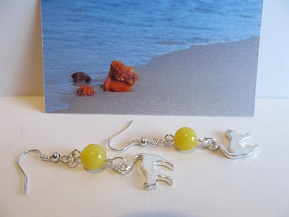 Cat 100% Natural Baltic #Amber  yellow beads opaque round #Earrings  5.1 gr. hook earwires