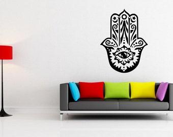 Hamsa Hand Evil Eye Protector Arabic Wall Art Decorative Vinyl Decal Sticker Stencil Mural