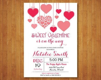 Valentines Baby Shower Invitation. Hearts Baby Shower Invitation. Valentine Baby. February. Red and Pink. Girl or Boy. Printable Digital.