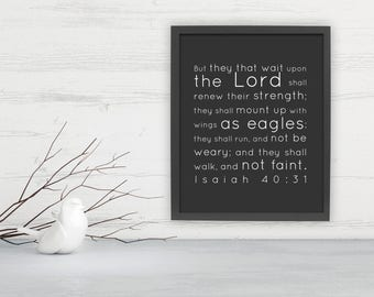 Wait upon the Lord, Framed, Isaiah 40:31, Scripture, Fine art print, Christian, Inspirational, Gift; Faith, Eagles, Wings