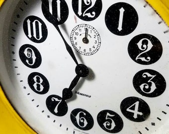 Vintage Wedgefield Bright Yellow Alarm Clock
