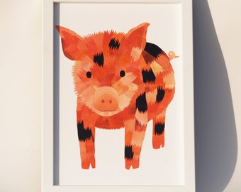 Micro pig art print, Nursery farm animal art, Piglet print, Paper collage art, Nursery decor, Animal lover print, Unique micro pig wall art
