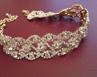 Gold Choker Necklace, Modern Rhinestone Bridal Choker Wedding Jewelry (C0517G)