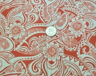 Tangerine and cream paisley cotton fabric