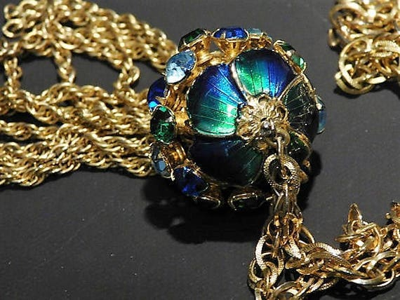Vintage Mid Century 1950s 50s Rhinestone Enamel Tassel Sautoir Lariat Necklace Dangling Dangle Ball Wedding Bride Fashion Blue Green Gold
