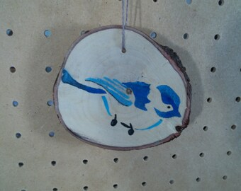 Hand Painted & Handmade Bird Ornament on a Hardwood Round