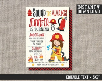 Fire Fighter Birthday Invitation, Fireman Invitation, Fire Fighter Invitation, Girl Invitation - EDITABLE TEXT - Instant Download