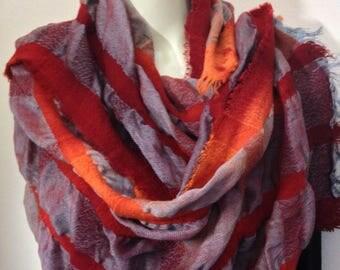 Scarf, Silk wool handwoven petite wrap scarf
