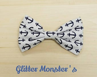 Boys Navy Anchor Bow Tie, Navy Cotton Bow Tie, Ring Bearer Bow Tie, Groomsmen Bow Tie, Summer Wedding Bow Tie, Anchor Themed Wedding