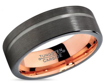 GUNMETAL Black Tungsten Ring Rose Gold Wedding Band Ring Tungsten Carbide 7mm 18K Tungsten Man Wedding Band Male Women Anniversary Matching