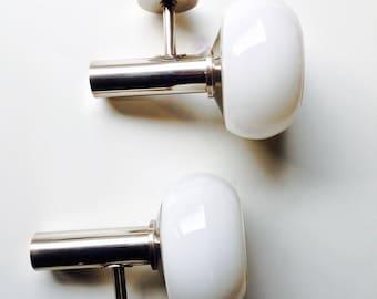 1970s Retro Pair White Wall Lights, Glass & Chrome,