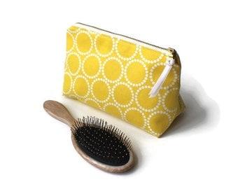 Makeup Bag / Cosmetic Bag / Cosmetic Case / Toiletry Bag /  Yellow Dots Makeup Bag / Waterproof Lining / Zipper Pouch