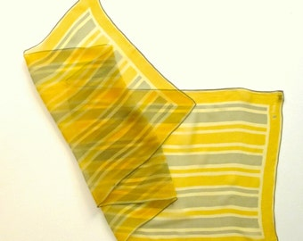 Vera scarf, 1960s, Abstract, Minimal design  in Yellow and Grey on Sheer, Transparent Silk