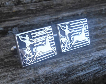 Vintage Egyptian Chariot Cufflinks. Silver Toned. Gift For Groomsmen, Groom, Dad, Husband.