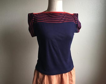 vintage 70s the house of jade navy blue red striped knit pullover boat neck new wave no wave breton sweater shirt top