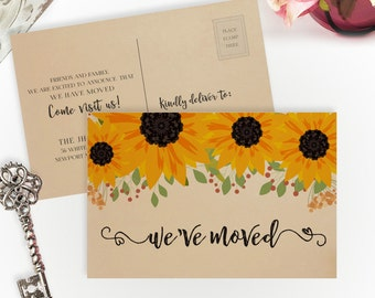 Sunflower moving announcements PRINTED on kreaft cardstock | 4X6 We've moved cards | Change of address postcards