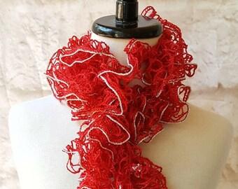 Red sashay scarf - Ruffle scarf - Crochet scarf - Handmade scarf - Fashion scarf - Sashay - Christmas scarf - Red scarf - Ladies scarf