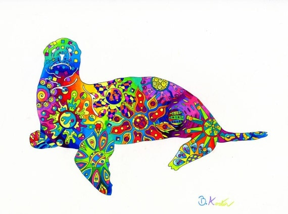 Sea Lion Art Print - Rainbow Sea Lion Design
