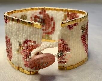 Hand Woven Beaded Bracelet - Floral